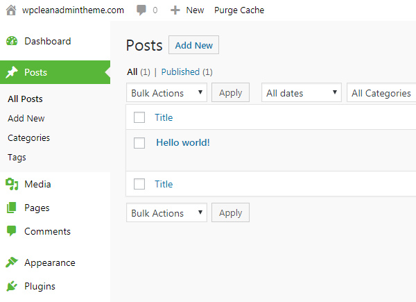 Clean WP Admin Theme