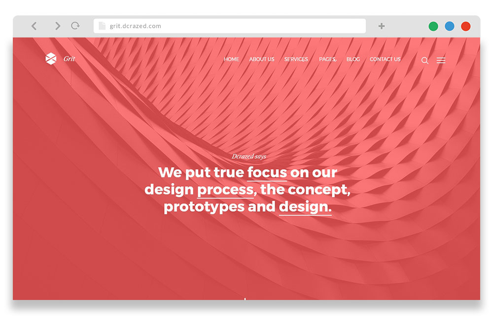grit - free one page creative agency WordPress theme