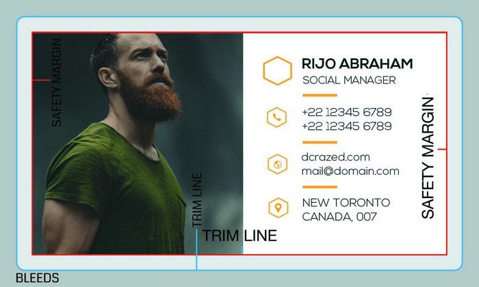 standard business card design