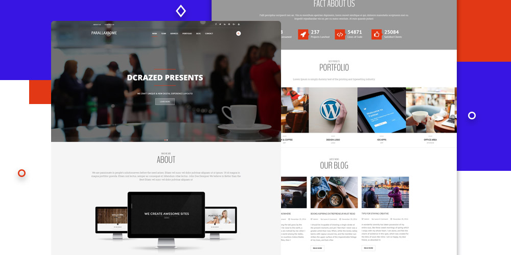 Free One-Page Parallax WordPress Themes in 2018