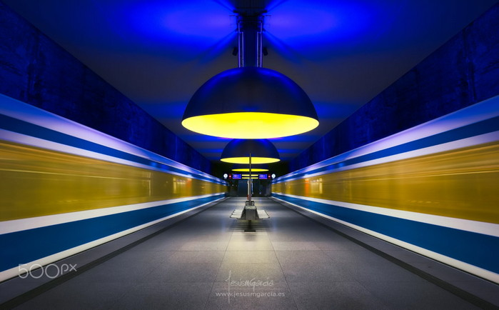 stunning shot of metro station leaving motion blur and trails