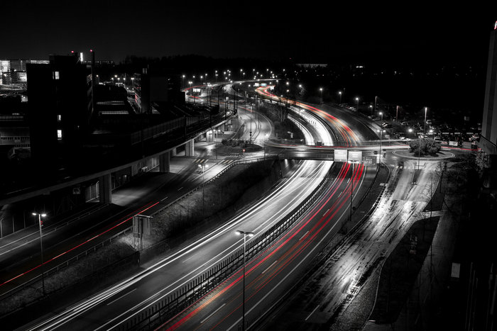 autobahn highway with light trails