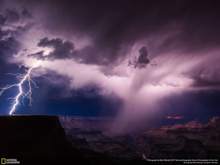 lightning at Grand Canyon with a cyclone swirling around.