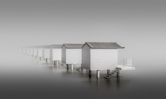 ten huts with Black & White color effect and foggy waters