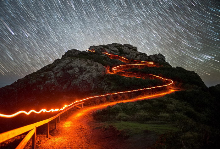 Wedding Rock with light painting effect