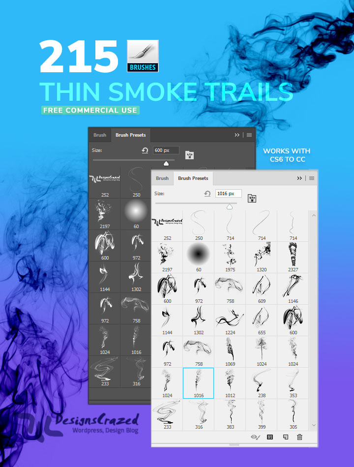 Thin smoke brushes for photoshop
