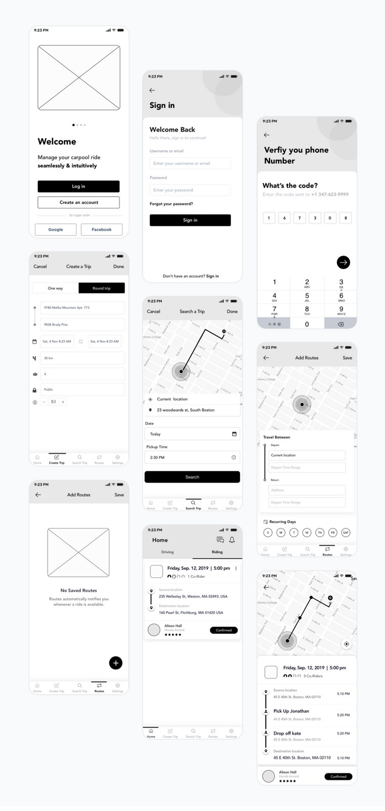 low fidelity wireframe for mobile app