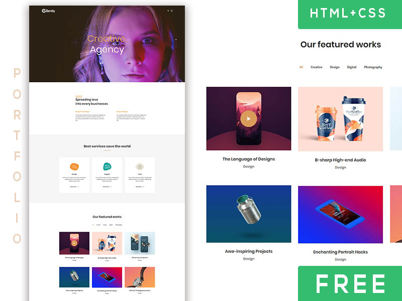 bently - free portfolio template