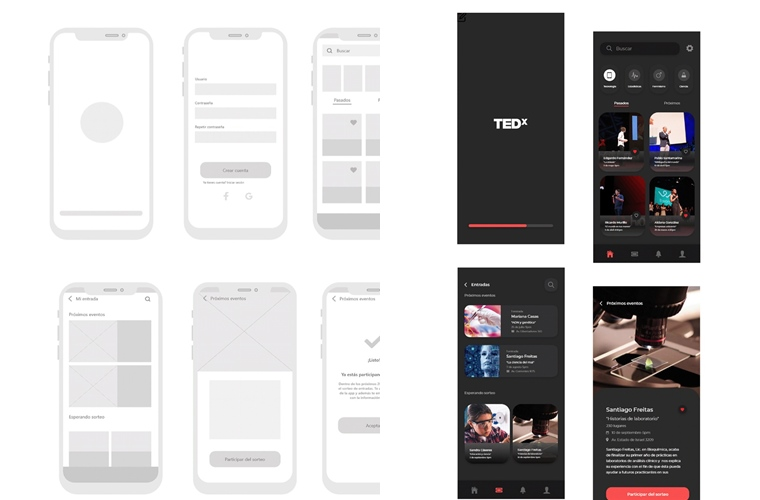 TEDx wireframe design
