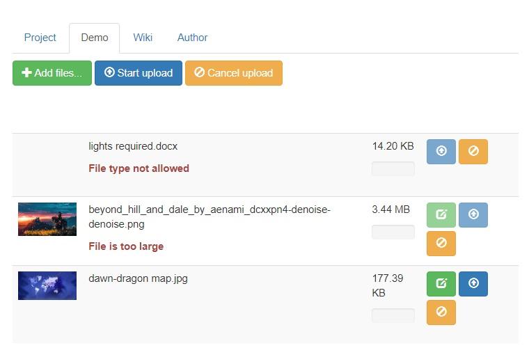 File Upload widget for php, node.js