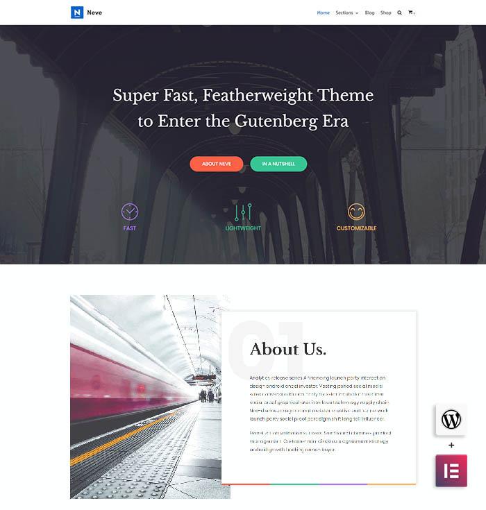 neve onepage theme