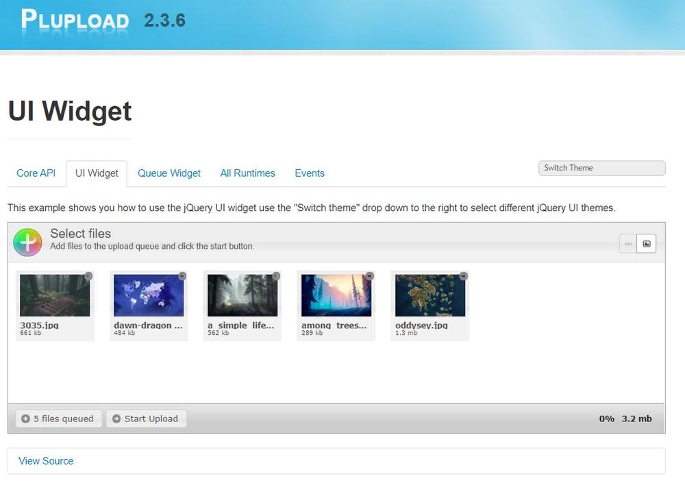 jQuery widget for image upload