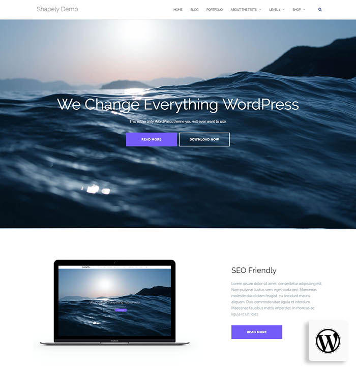 shapely - parallax WordPress theme